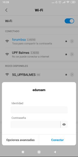 Configuración Eduroam Android - paso 2