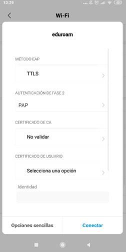 Configuración Eduroam Android - paso 3